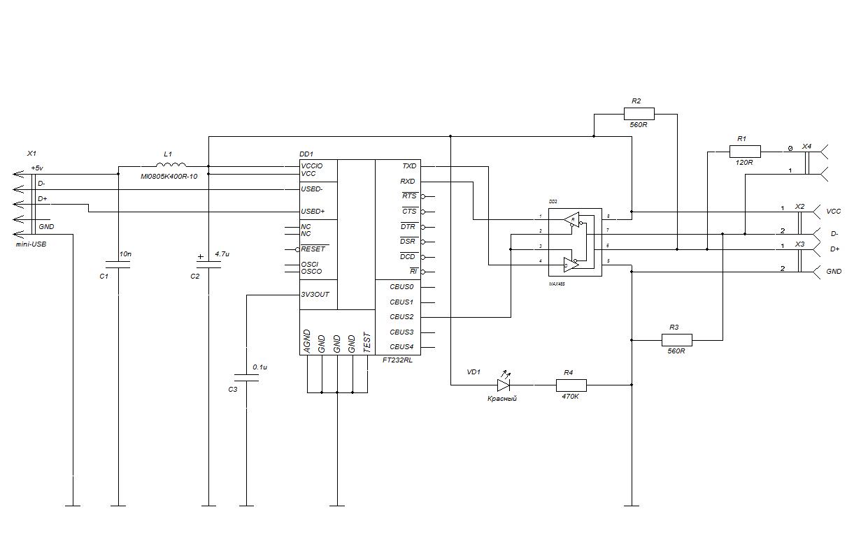 Преобразователь USB <=> RS-485